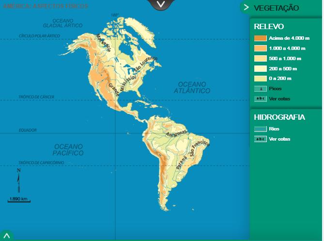 Figura 4: Principais rios do continente americano